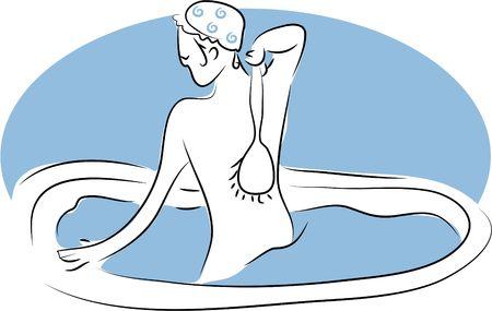 scrubbing: woman scrubbing her back in the bathtub