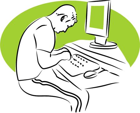 hombre escribiendo en teclado de computadora Foto de archivo - 247742