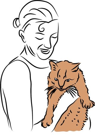 cuddly: woman with cuddly cat