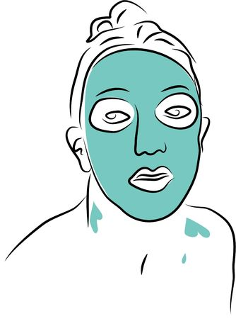 pores: woman wearing face pack Stock Photo