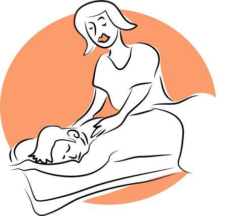 unwind: woman massaging a man Stock Photo