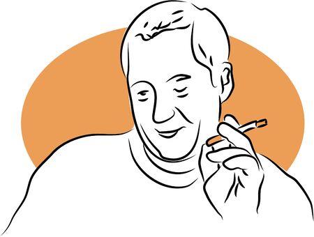cigaret: senior man having a cigarette Stock Photo