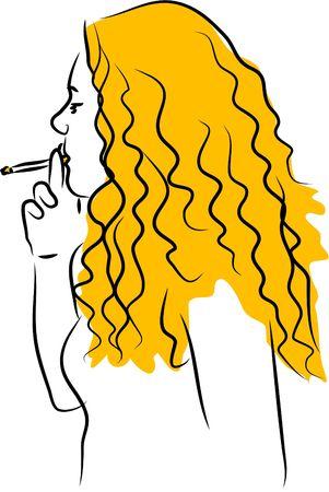 cigaret: girl smoking Stock Photo