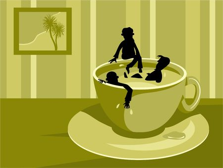 unwind: lazy workers taking too many coffee breaks - conceptual image Stock Photo
