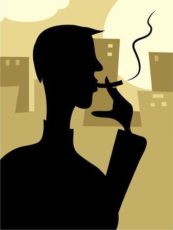 man smoking in the city photo