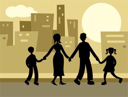 la familia urbana  Foto de archivo - 250206