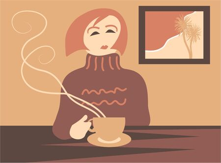 comfy: woman having a coffee break Stock Photo
