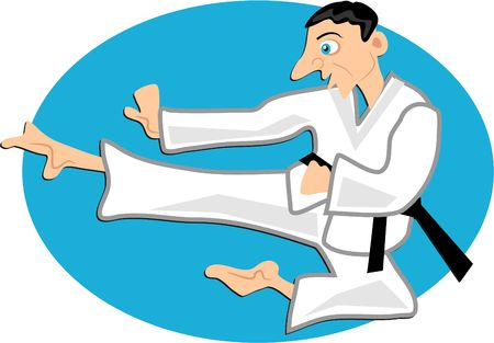 tae: karate expert doing a flying side kick Stock Photo