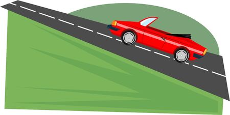 uphill: red sports car driving uphill