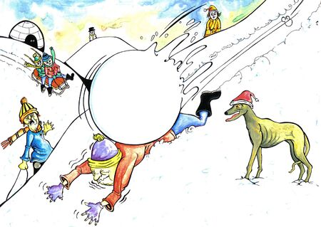 knocked over: man knocked over by a giant snowball hurtling down the hill Stock Photo