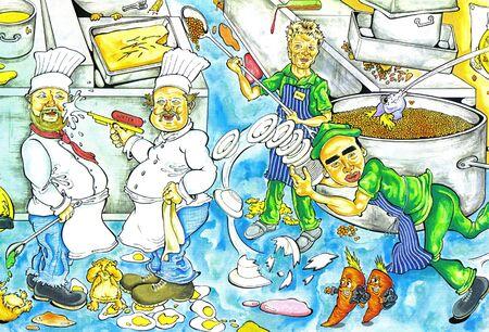 industrial kitchen: kitchen chaos Stock Photo