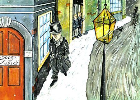scrooge: ebenezer scrooge walking through the snow Stock Photo