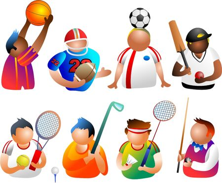 sporty people icons photo