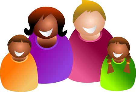 mixed family: colourful family