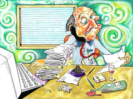busy life: stressed worker