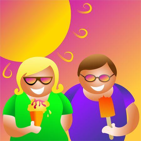 pareja comiendo: verano joven