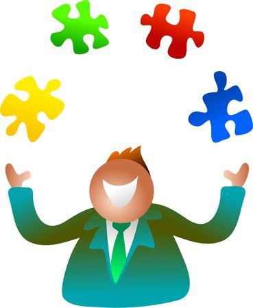 grownup: juggling jigsaw Stock Photo
