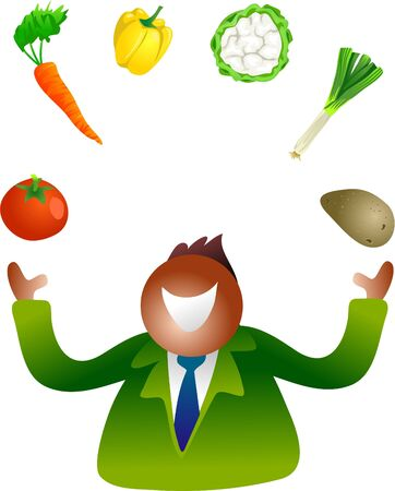 edibles: juggling vegetables Stock Photo