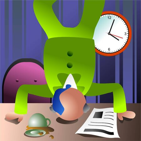 businessman doing a headstand on his office desk Stock Photo - 286777