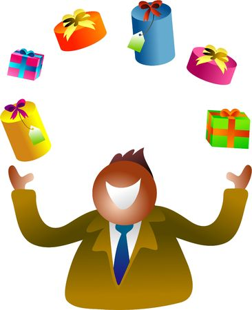 organise: juggling gifts Stock Photo