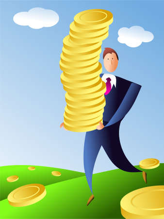 wealthy man: pile of gold Stock Photo