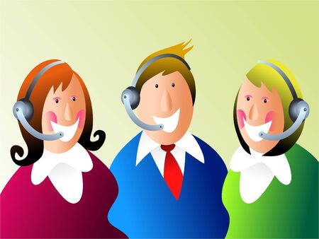 helpline: helpful customer service team Stock Photo