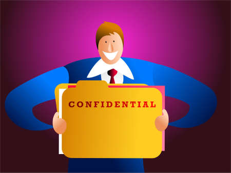 clerical: confidentiality - businessman holding confidential file