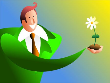 nurture: holding nature - man holding a daisy flower Stock Photo