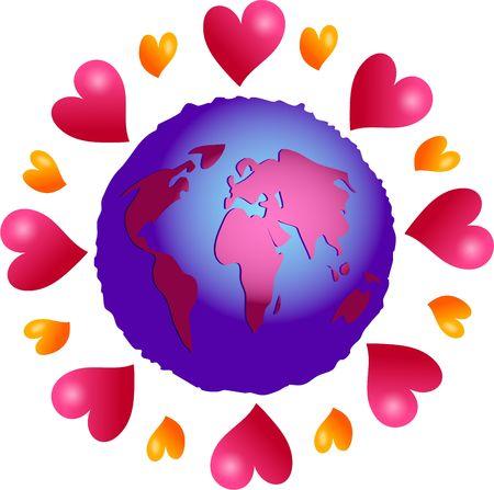 amor al planeta: planeta amor - el amor hace que el mundo gire Foto de archivo
