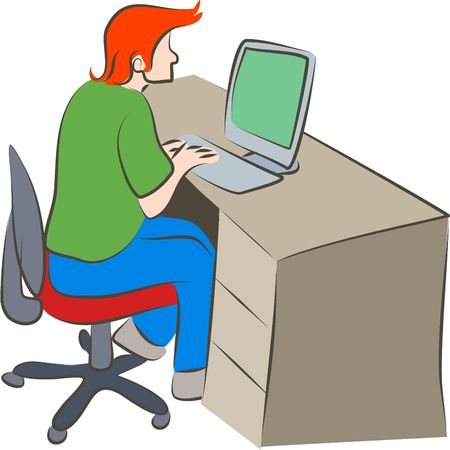 man working on a computer in an office Stock Photo - 311689