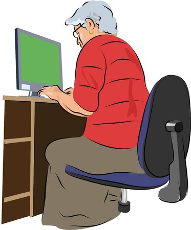 oap: senior woman working on a computer