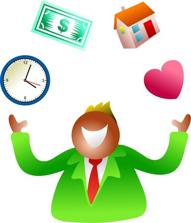 hectic life: man juggling time, love, home and money issues - icon people series Stock Photo