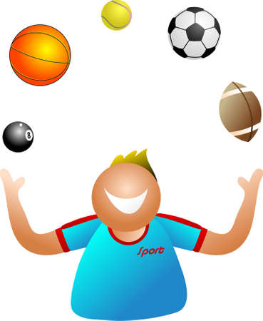 eightball: juggling sport - active man juggling between different sporting activities - icon people series