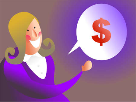 commissions: money talk -woman talking about money, maybe she wants a raise Stock Photo