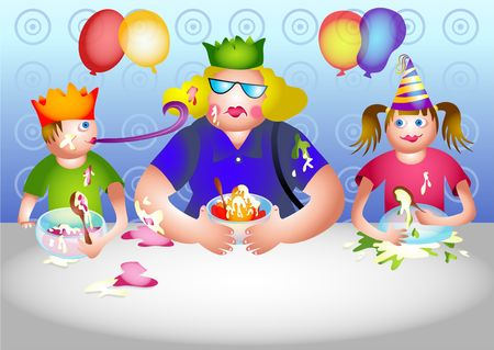 invited: Betty gets invited to a birthday party Stock Photo