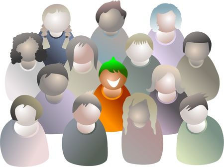 standing out: standing out from the crowd - icon people series Stock Photo