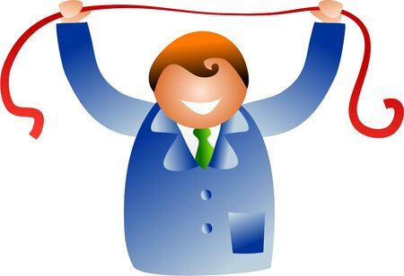 constraints: business man stretching red tape - icon people series Stock Photo