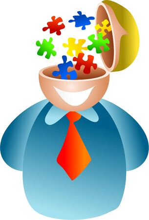 puzzle brain - businessman with a mind for solving puzzles photo