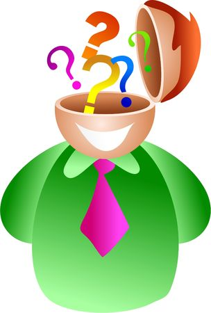 possibility: question brain - businessman with a mind full of questions Stock Photo