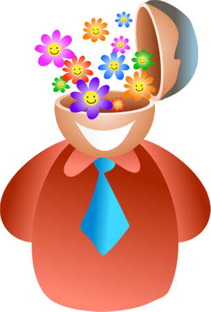 hes: flower brain - maybe hes a florist - icon people series Stock Photo