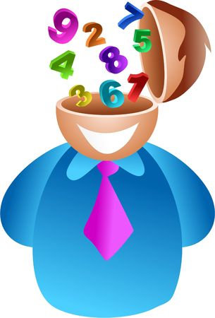 hes: number brain - businessman with number skills, maybe hes an accountant - icon people series