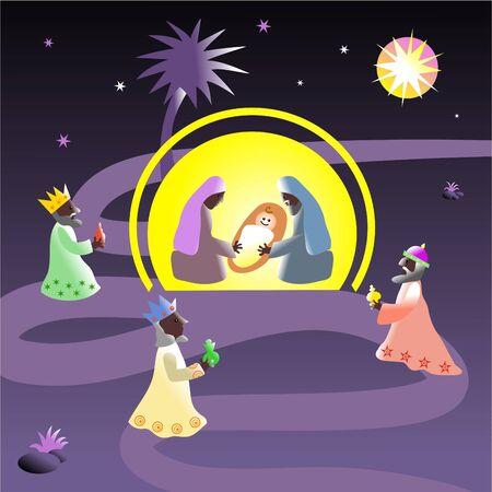 rois mages: Sc�ne de nativity de No�l avec le b�b� J�sus, Mary, Joseph et les magi visitants Banque d'images