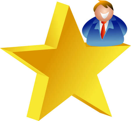 achieving: businessman achieving his dreams - star man - icon people series