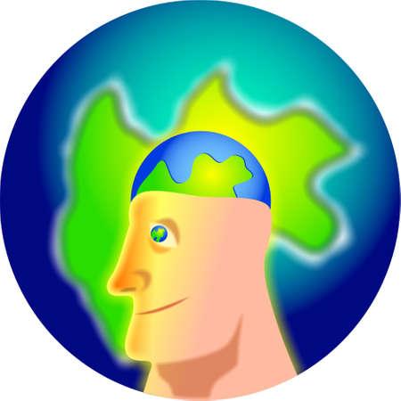 globe brain photo