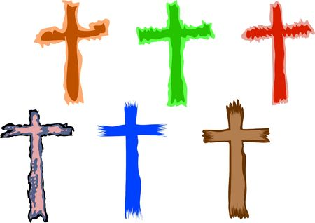 crosses: funky and colourful Christian crosses Stock Photo