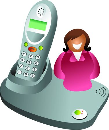 cordless phone: telephone woman - icon woman sitting on cordless phone