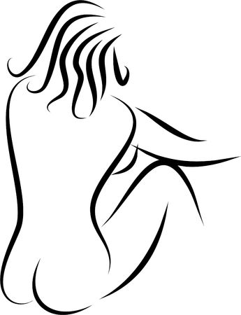 naked woman sitting: elegant line drawing of female body