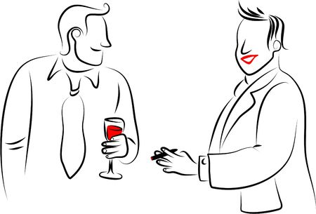 line drawing of two men chatting at a party photo