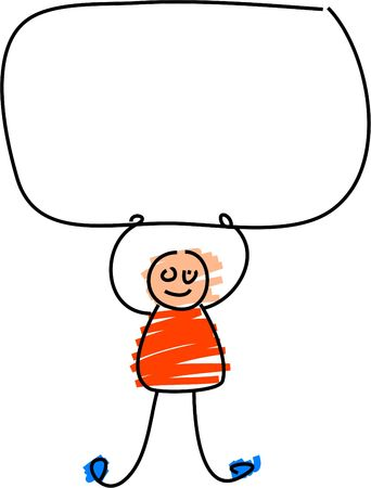 kiddie: kiddie style drawing of a toddler holding up a blank sign Stock Photo