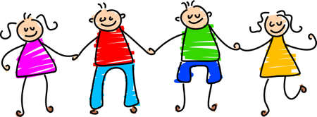 happy friends - toddler art style Stock Photo - 345810